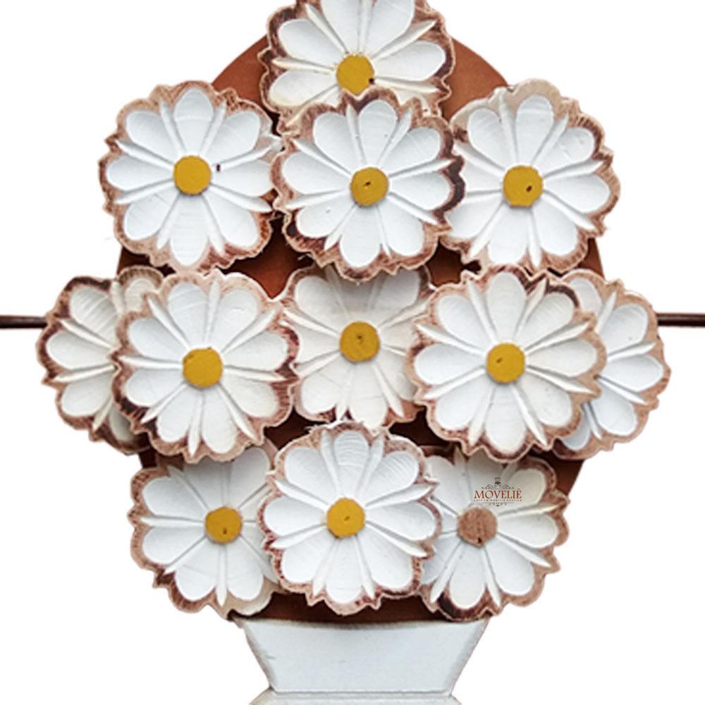 Quadro rústico artesanal vazado branco e marrom