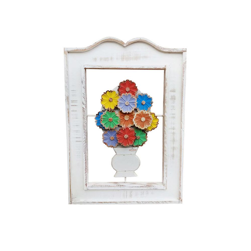 Quadro rústico artesanal vazado flores coloridas branco