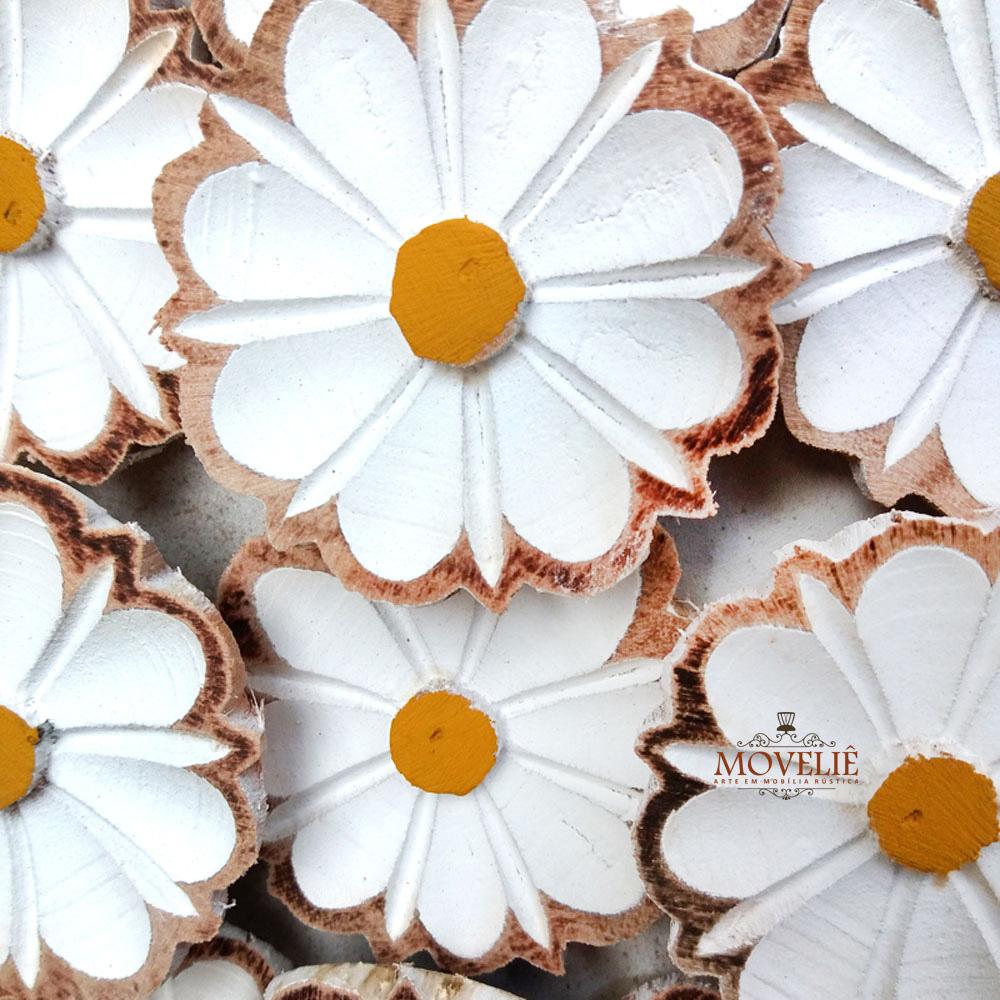 Quadro rústico artesanal vazado branco