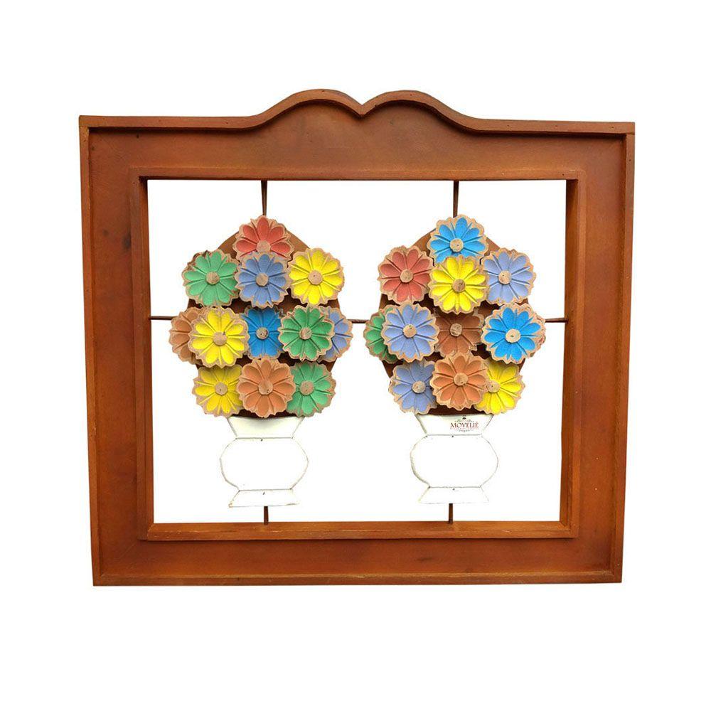 Quadro Rústico Flores em Madeira 51x56