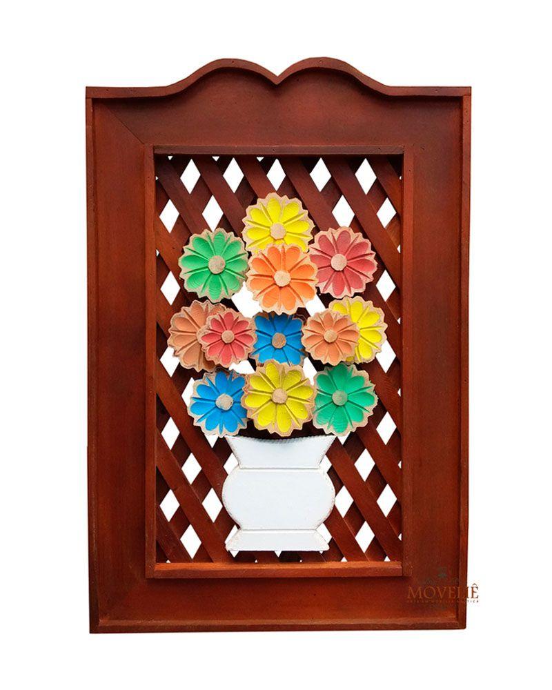 Quadro Rústico Flores em Madeira 60x40