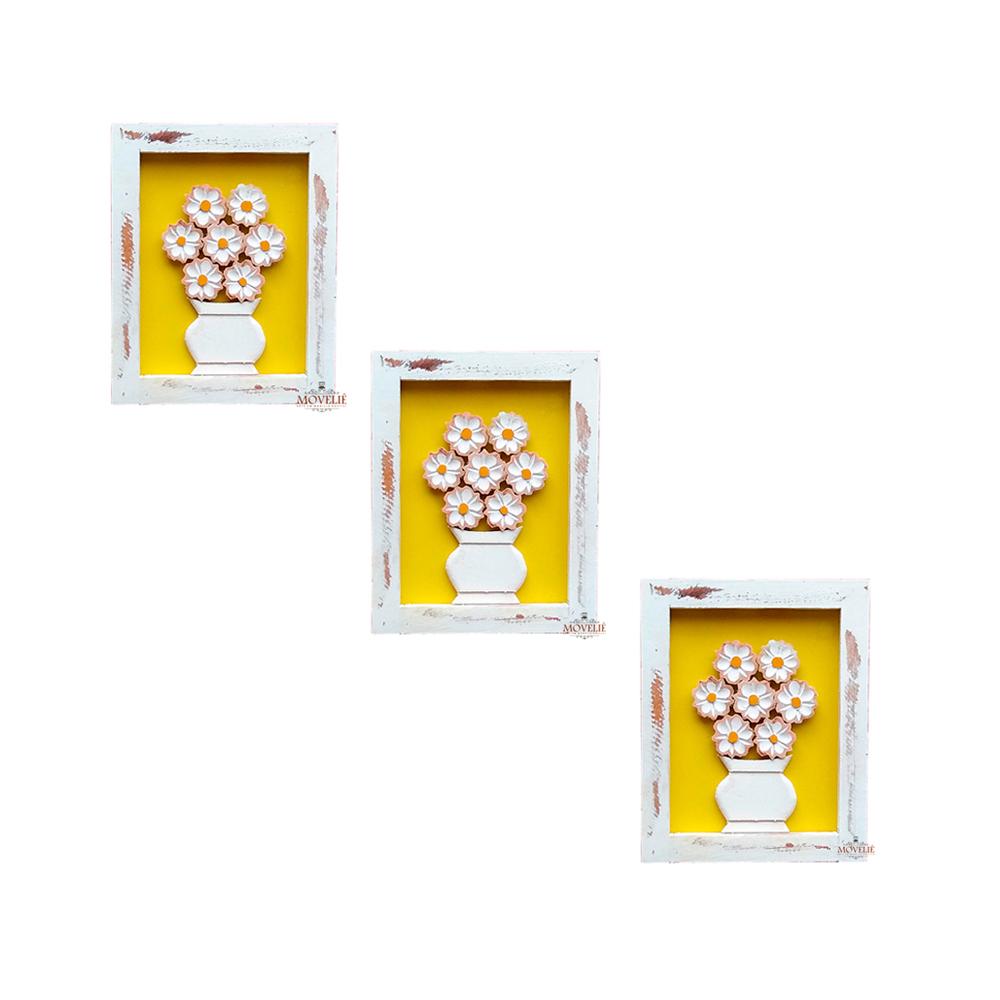 Kit quadro rústico flor branca em madeira amarelo