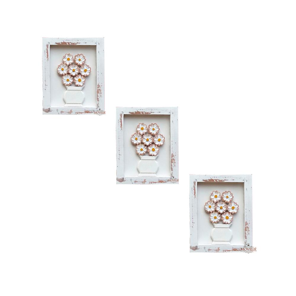 Kit quadro rústico flor branca em madeira branco