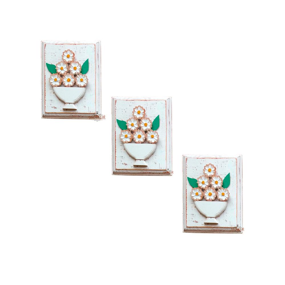 Kit quadros rústicos flores em madeira branco