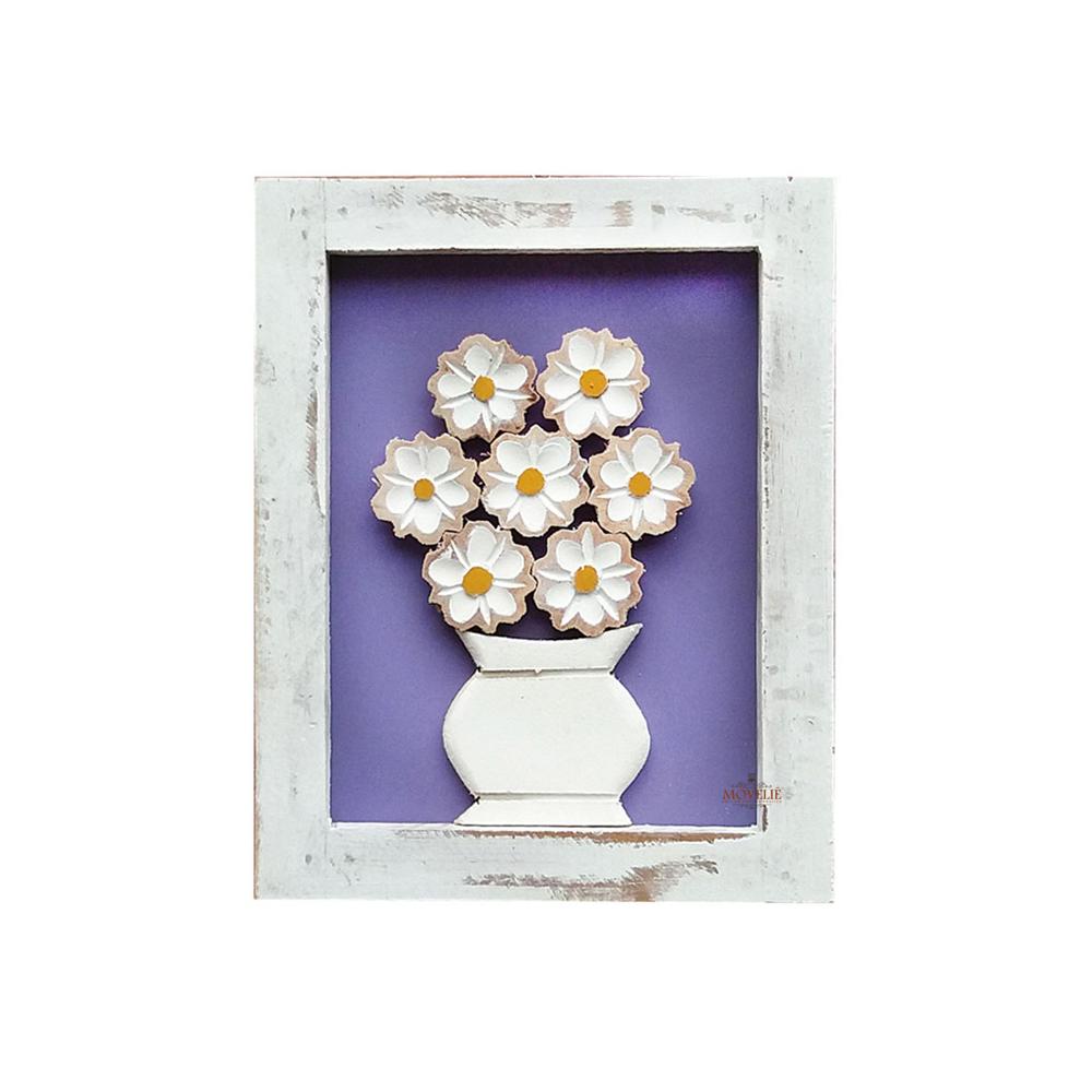 Kit quadro rústico flor branca em madeira roxo
