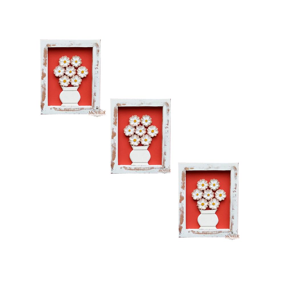 Kit quadro rústico flor branca em madeira vermelho