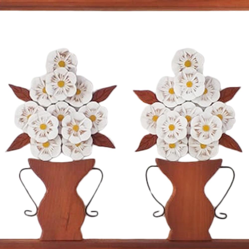 Quadro rústico jarro flores brancas em madeira
