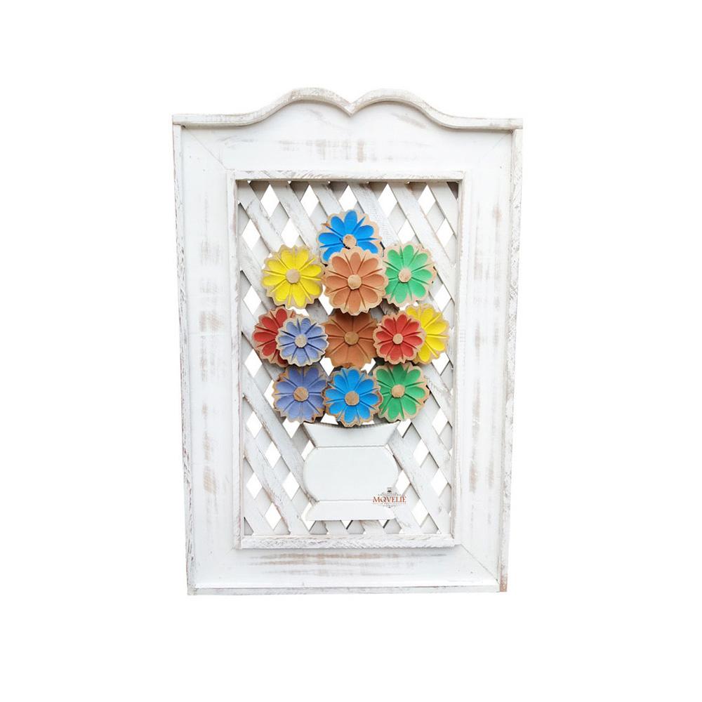 Quadro rústico treliça em madeira flor colorida