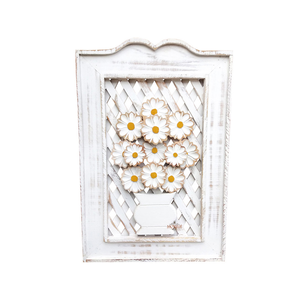 Quadro rústico treliça em madeira branco