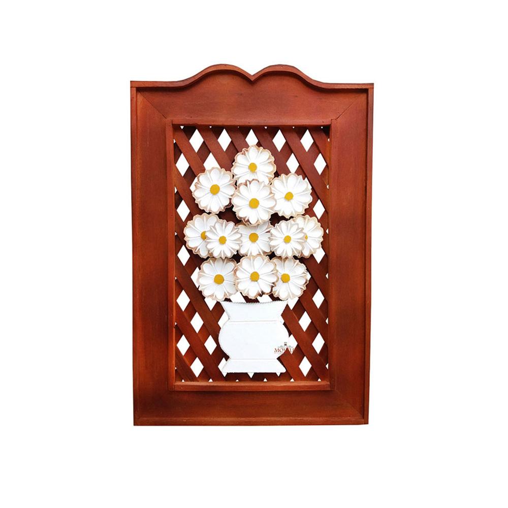 Quadro rústico treliça em madeira flor branca