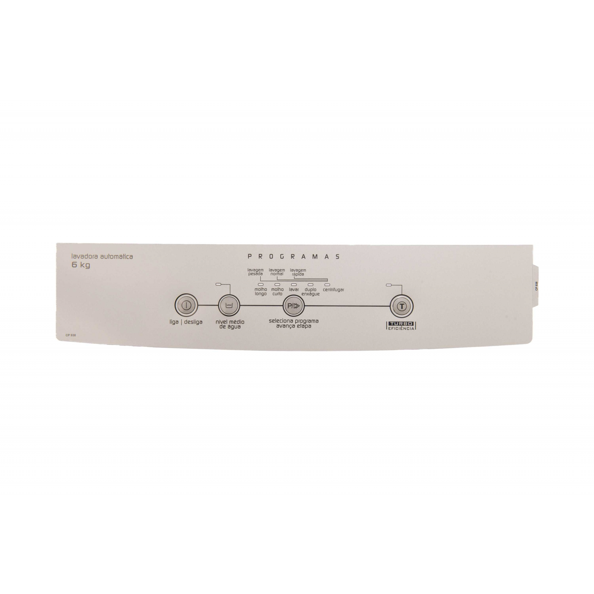 Adeivo Painel compatível lavadora Brastemp Clean BWC06A