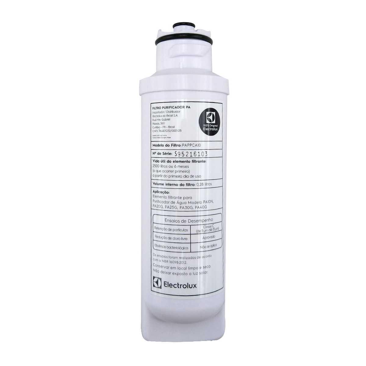 Refil filtro água purificador Electrolux PA40,30,25,20G PA10N