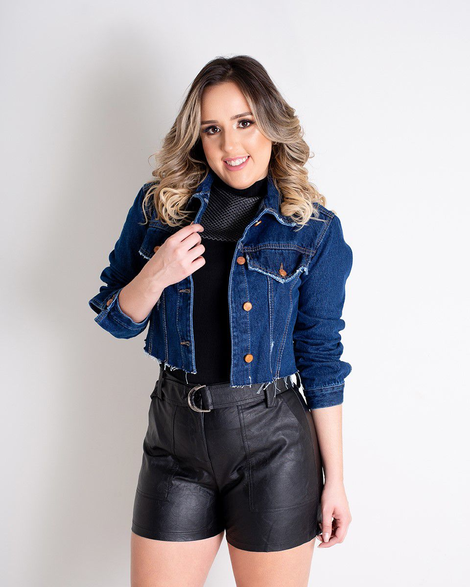 JAQUETA CROPPED ESCURA LUIZA