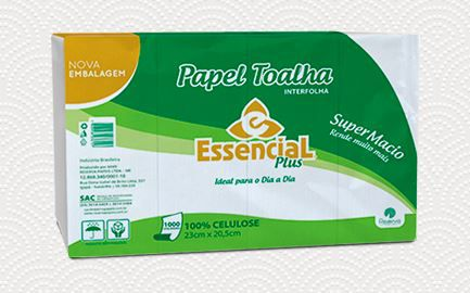 PAPEL TOALHA INTERFOLHADO ESSENCIAL PLUS  C/1000 FL 23X20,5 (RESERVA)