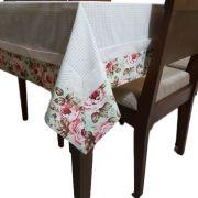 Toalha de Mesa 6 lugares Xadrez com Estampa Floral em tricoline 100% algodão