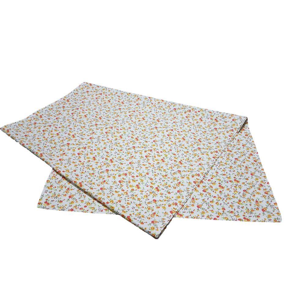Caminho de Mesa Flores amarelas em tricoline 100% algodão