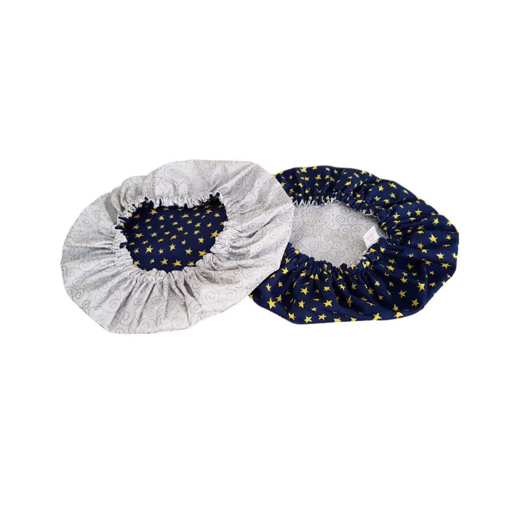 Capa Sousplat Dupla Face Estrela Azul e Prateado em tricoline 100% algodão