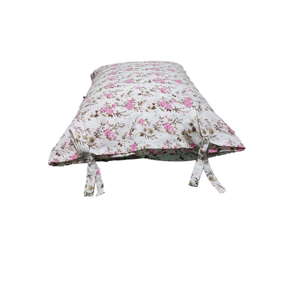 Fronha Avulsa Com Flores Rosas em tricoline 100% algodão