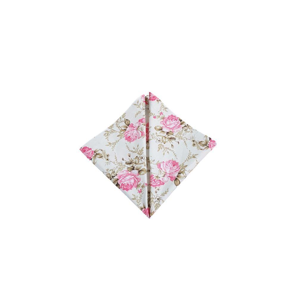 Guardanapo com Estampa Floral Rosas Grandes em tricoline 100% algodão