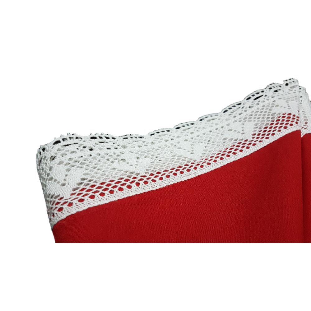 Guardanapo Renda Guipir Vermelho em cambraia de algodão