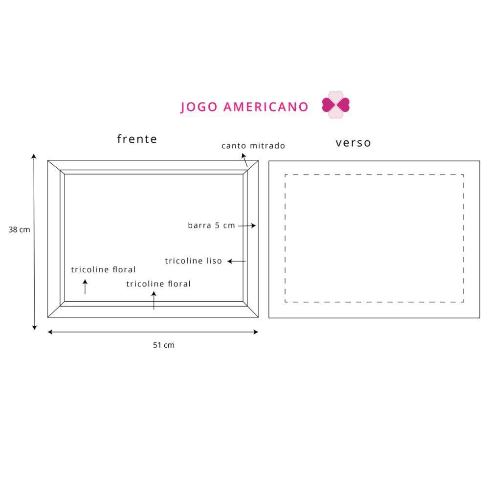 Jogo Americano com Estampa Rosa Floral Grande em tricoline 100% algodão