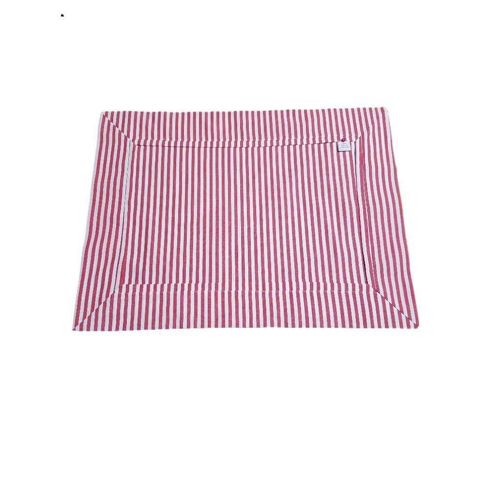 Jogo Americano Listrado Vermelho em tricoline 100% algodão