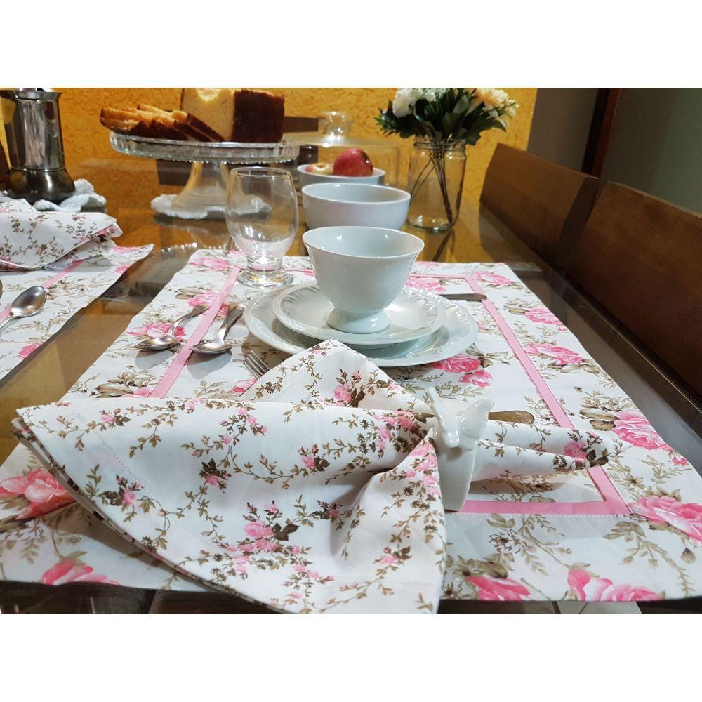 Kit Guardanapo com Estampa Floral em tricoline 100% algodão - 6 pcs