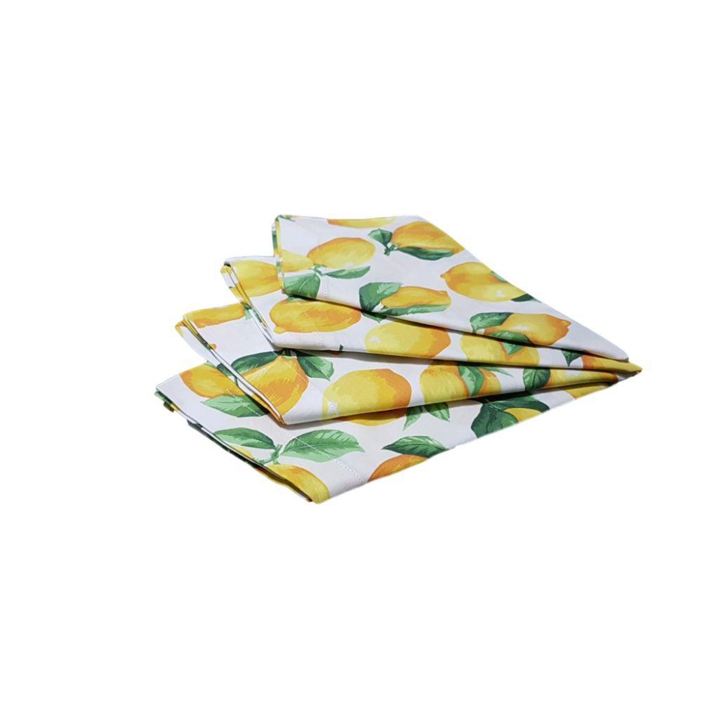 Kit Guardanapo com Estampa Frutas em tricoline 100% algodão - 4 pcs