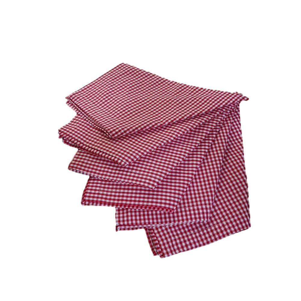 Kit Guardanapo Diversas Estampas em Xadrez em tricoline 100% algodão - 6 pcs