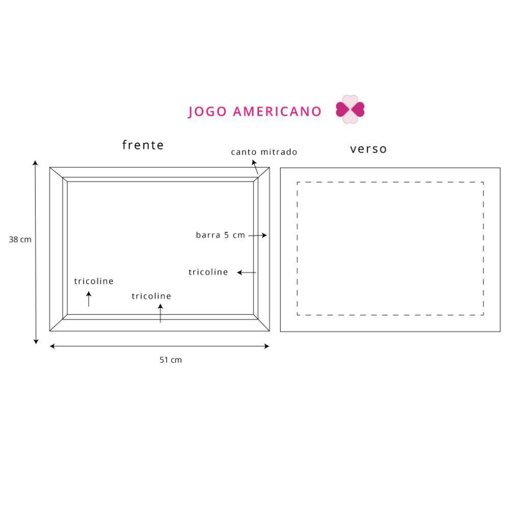 Kit Jogo Americano com Estampa Banana + Guardanapos + Porta Guardanapos - 6 pcs