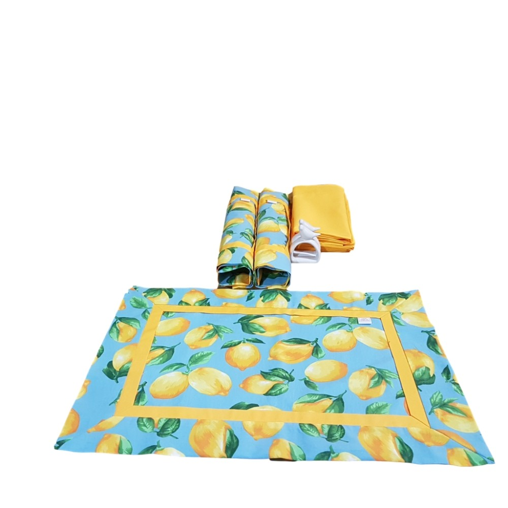 Kit Jogo Americano com Estampa Limão Siciliano Azul + Guardanapo + Porta Guardanapos - 2 Pçs