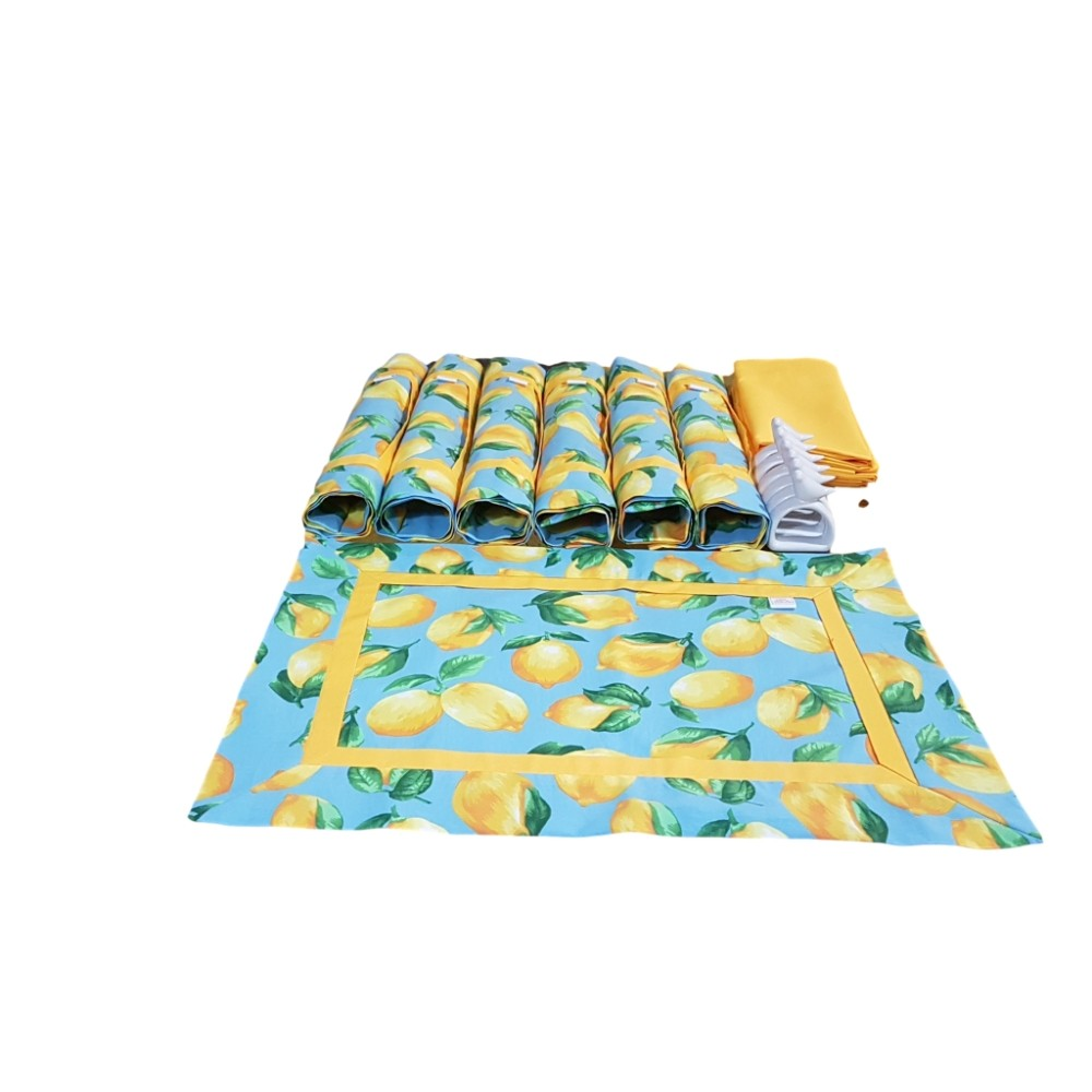 Kit Jogo Americano com Estampa Limão Siciliano Azul + Guardanapo + Porta Guardanapos - 6 Pçs