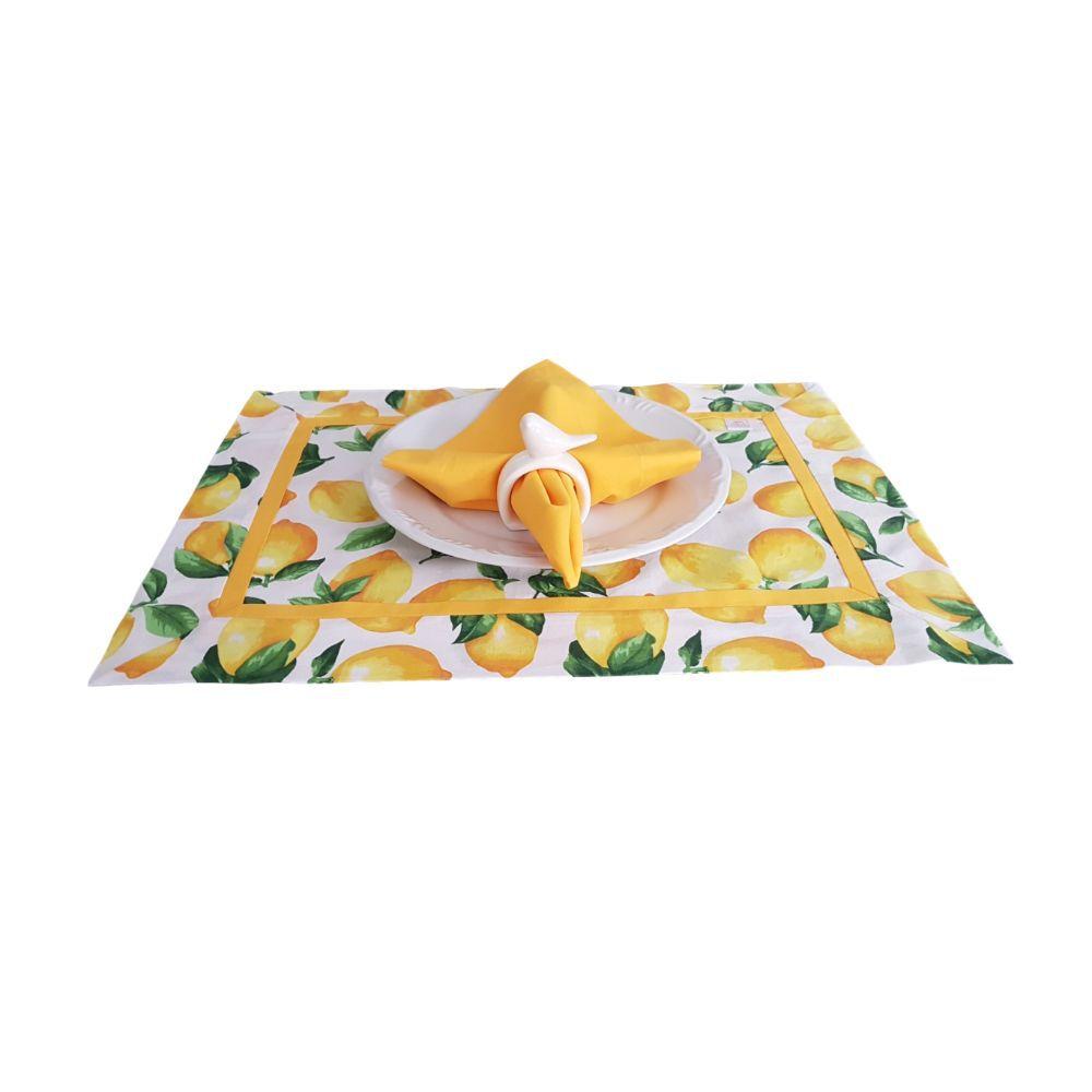 Kit Jogo Americano com Estampa Limão Siciliano + Guardanapo + Porta Guardanapos - 1 pc