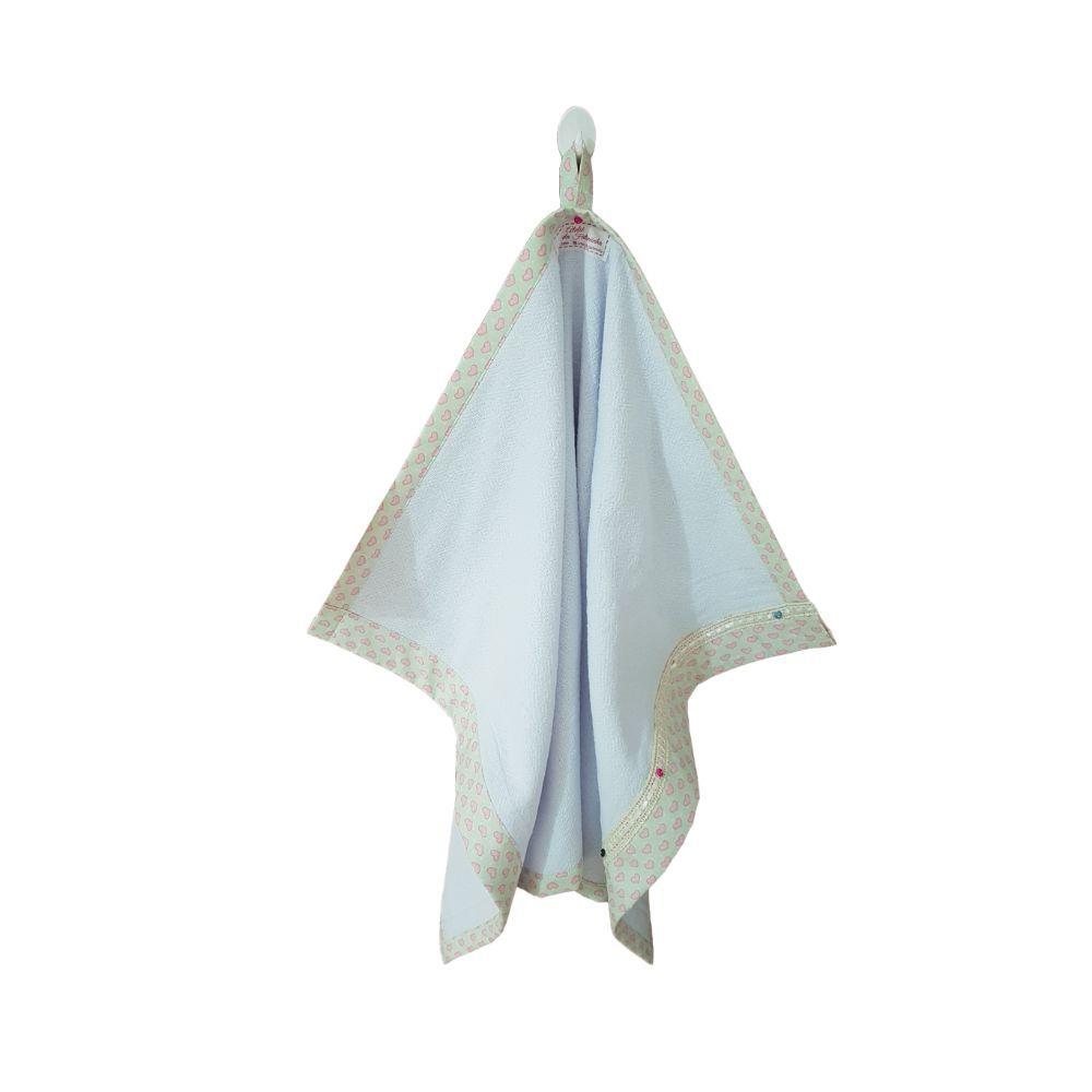 Pano de Prato Duplo Branco com Estampa de Coração