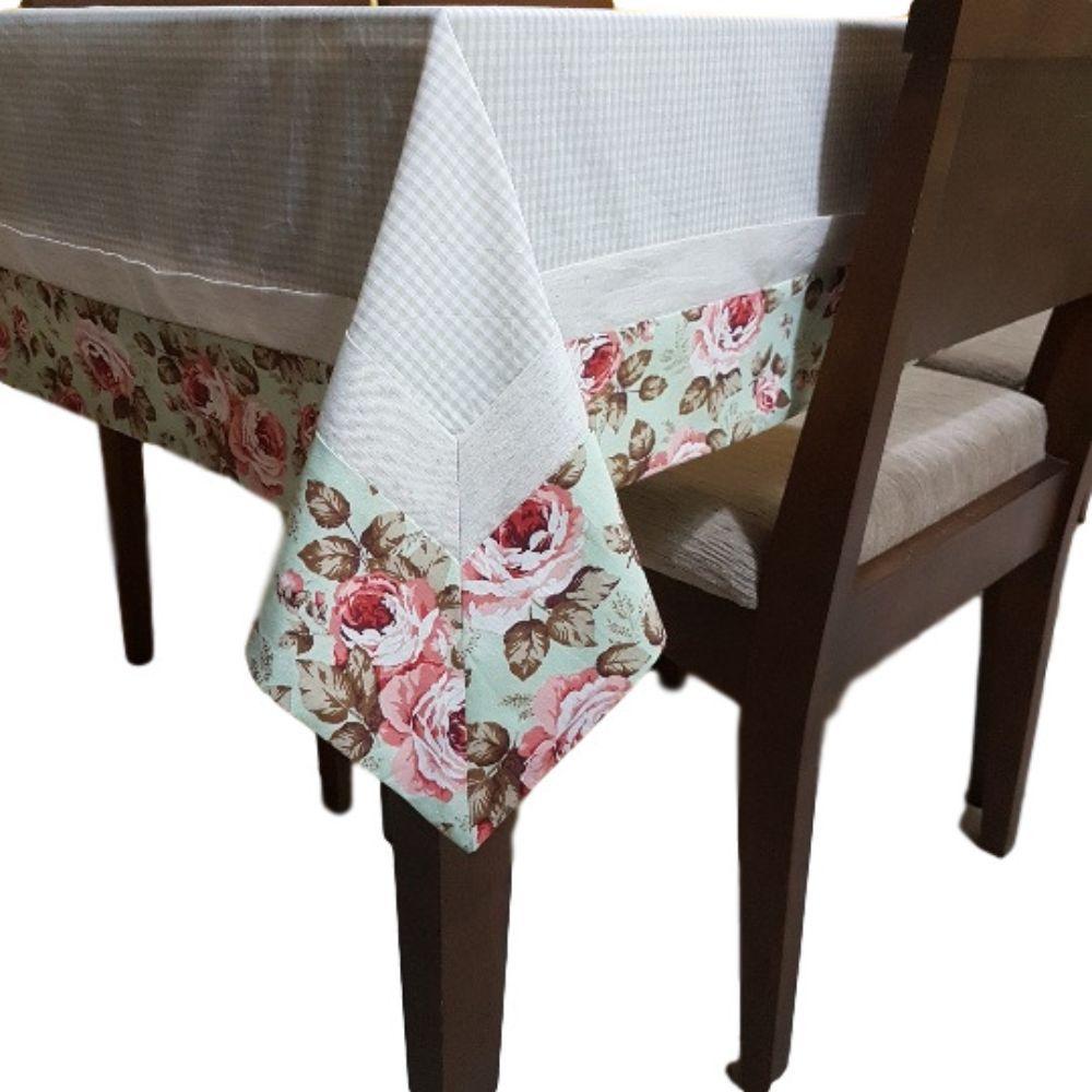 Toalha de Mesa 4 lugares Xadrez com Estampa Floral em tricoline 100% algodão