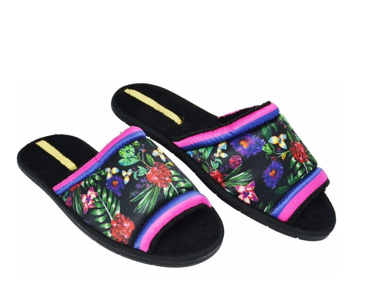 Pantufa Fem Moleca Cetim Floral 5427 102