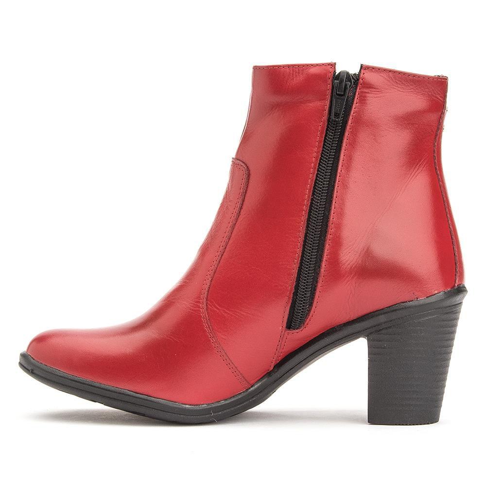 Bota Feminina Vermelha Cano Curto Couro Vermelho Piton Torani Berry
