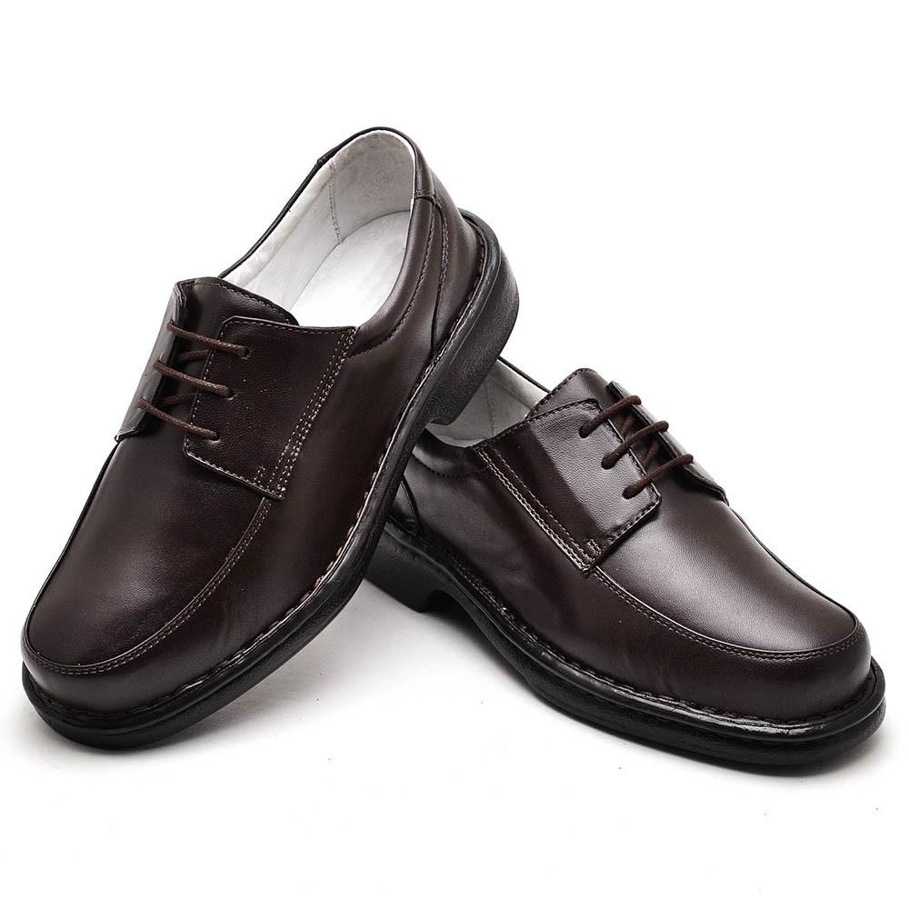 Sapato Casual Masculino com Cadarço Couro Legítimo