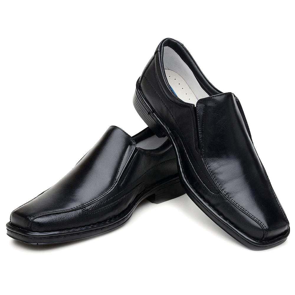 Sapato Casual Masculino Confortável Couro Preto Bico Quadrado