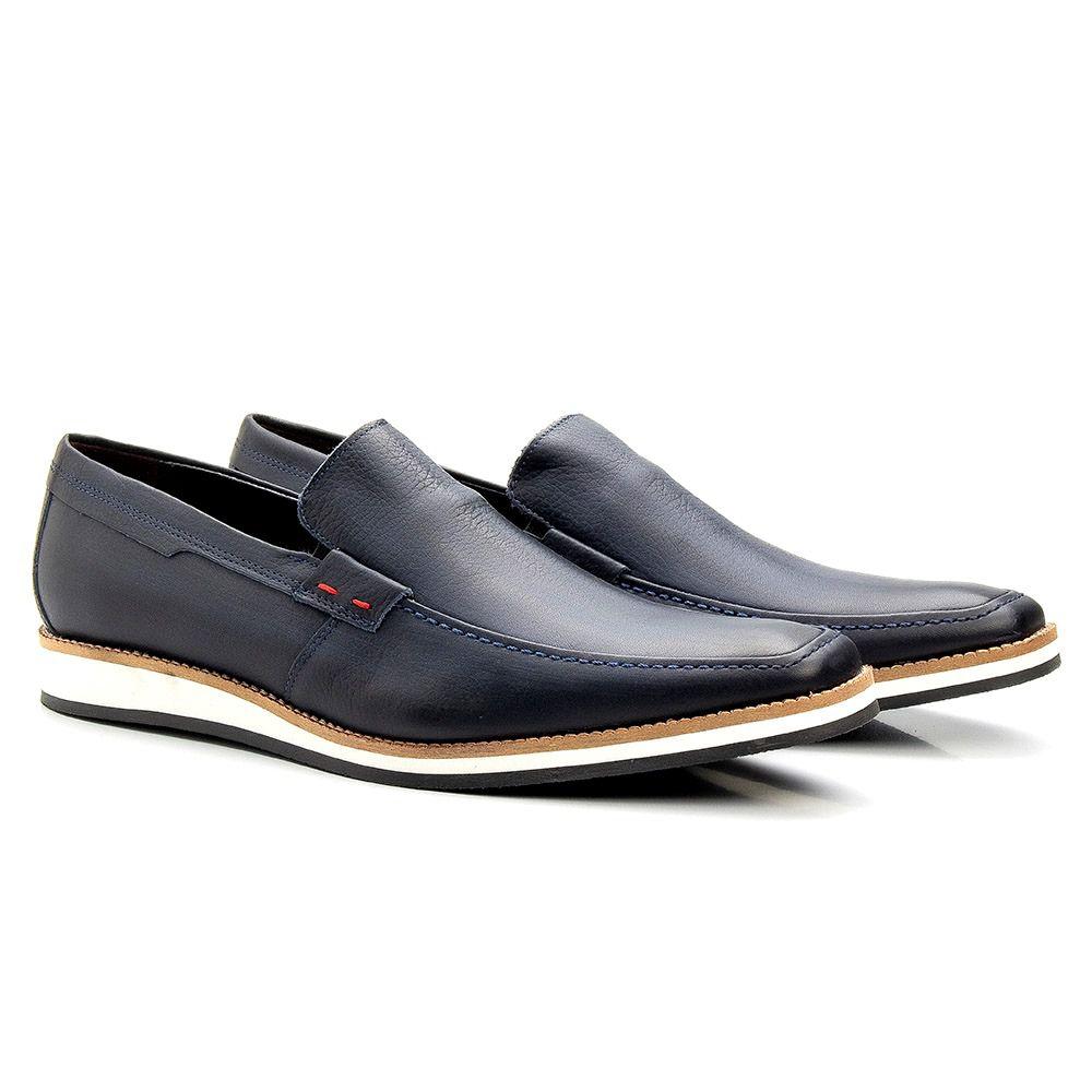 Sapato Casual Masculino Couro Azul