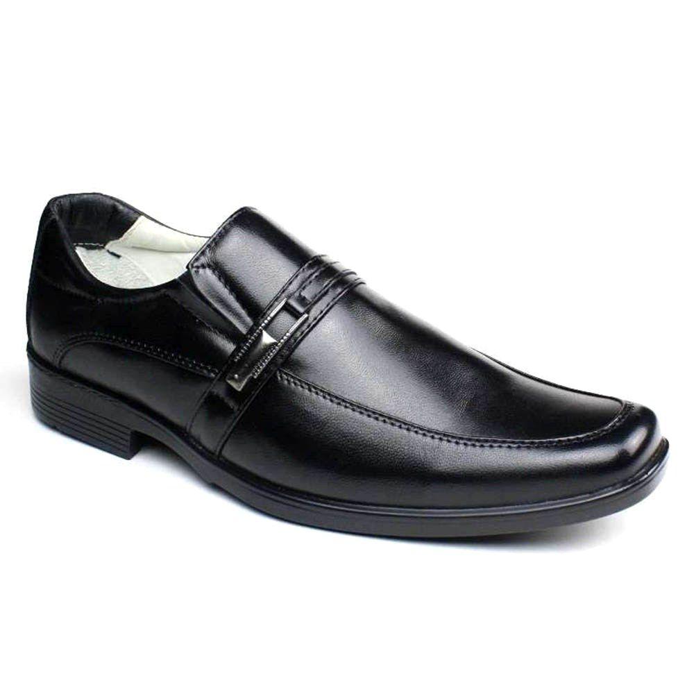 Sapato Masculino Confortável Couro de Carneiro Preto