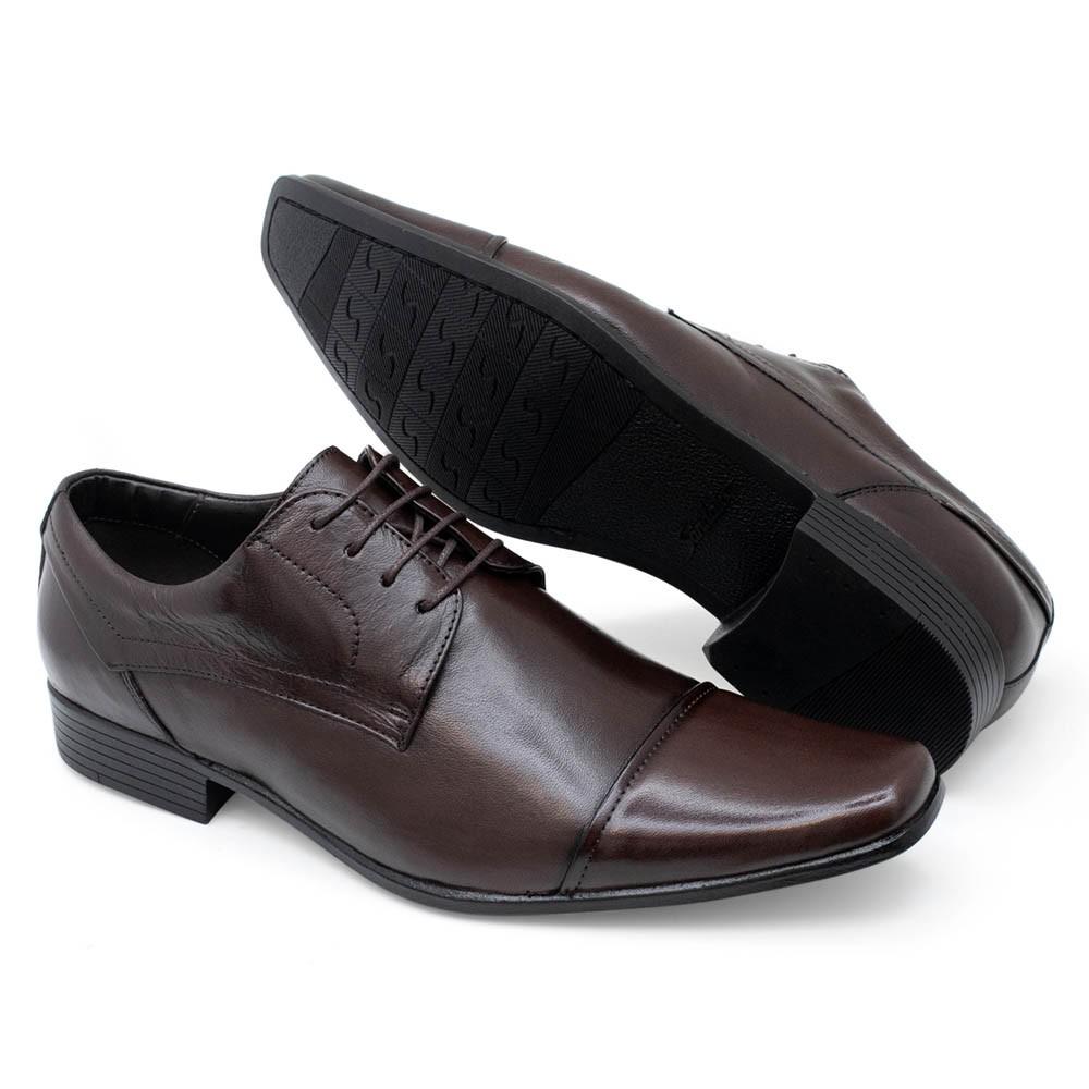 Sapato Social com Cadarço Couro Marrom Masculino Sândalo