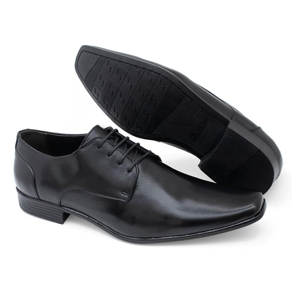 Sapato Social com Cadarço Couro Preto Masculino Sândalo