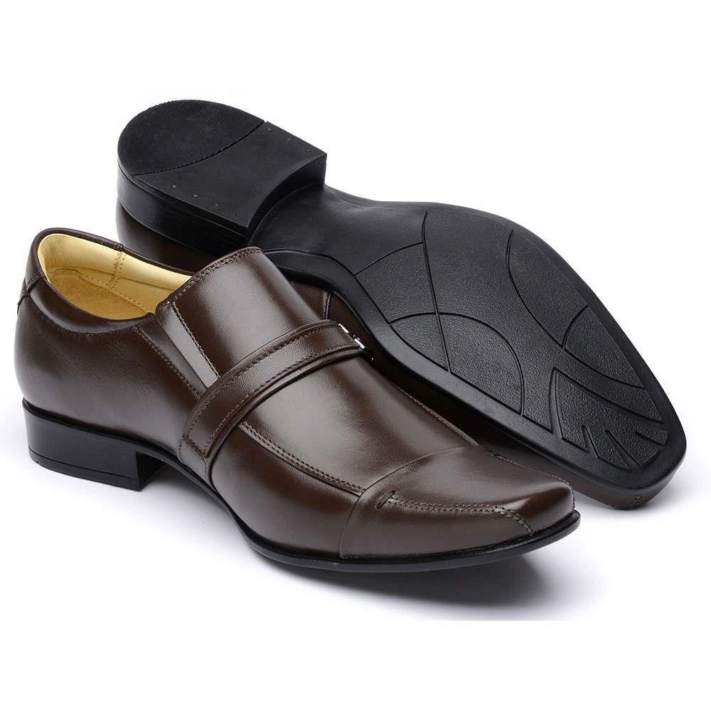 Sapato Social Comfort Couro de Carneiro Marrom Masculino