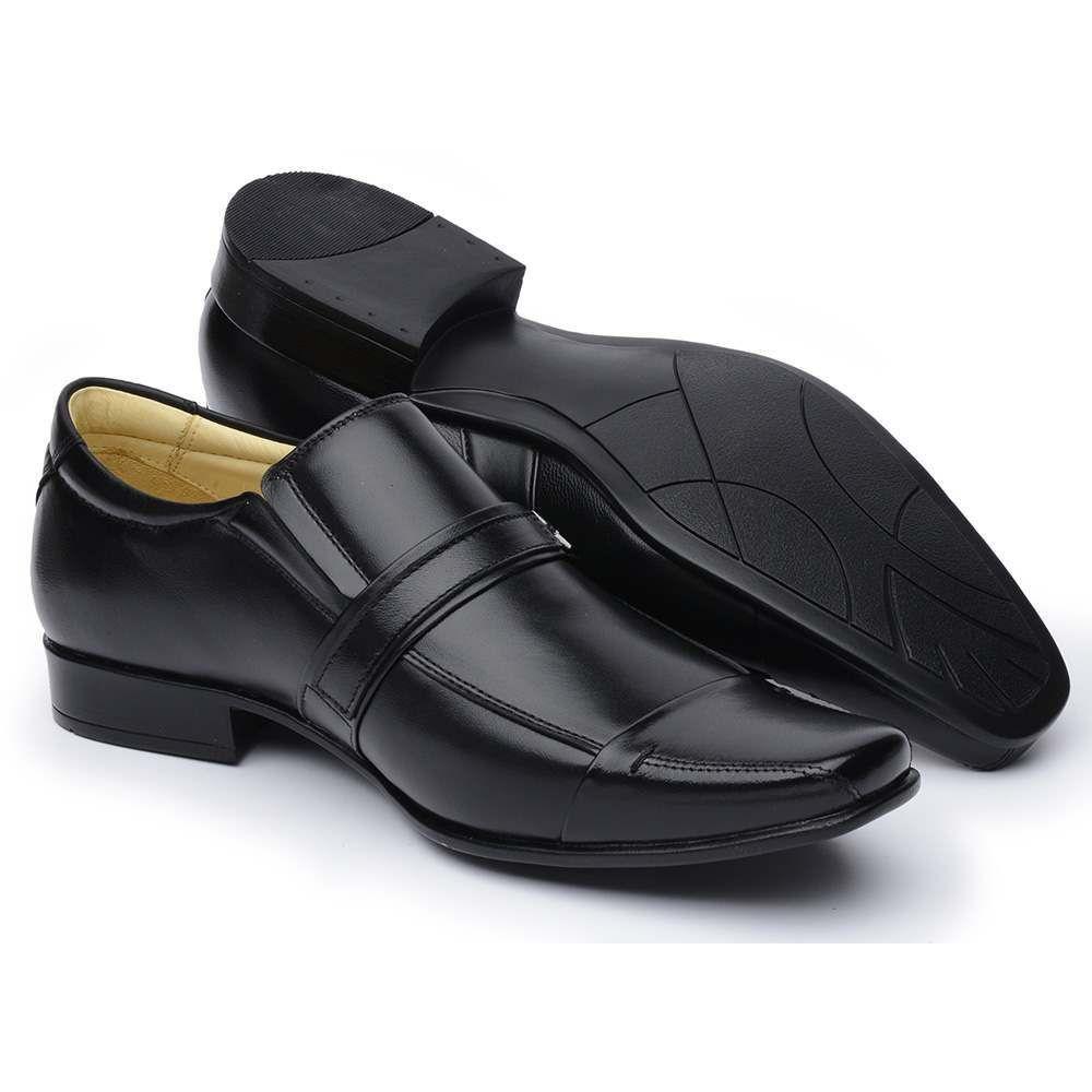 Sapato Social Comfort Couro de Carneiro Preto Masculino