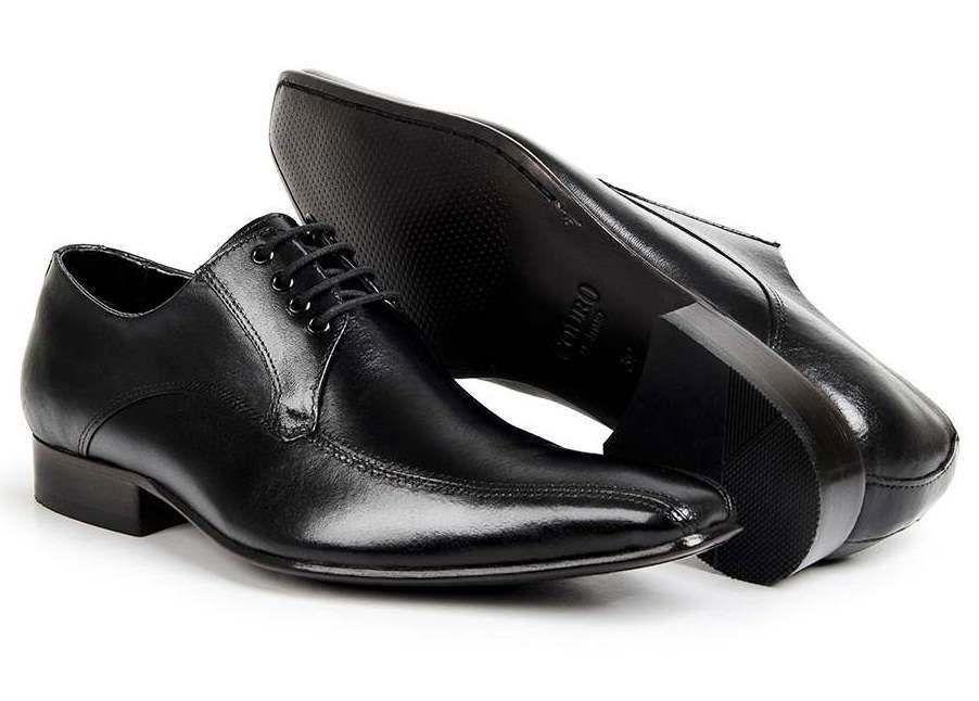 Sapato Social com Cadarço Couro Legítimo Preto Sola de Couro