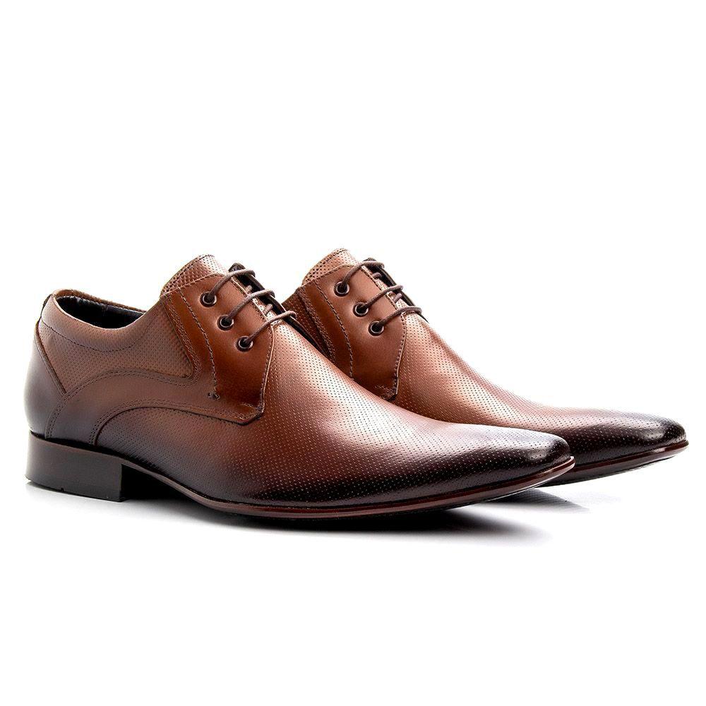 Sapato Social Masculino Cadarço Couro Legítimo Marrom