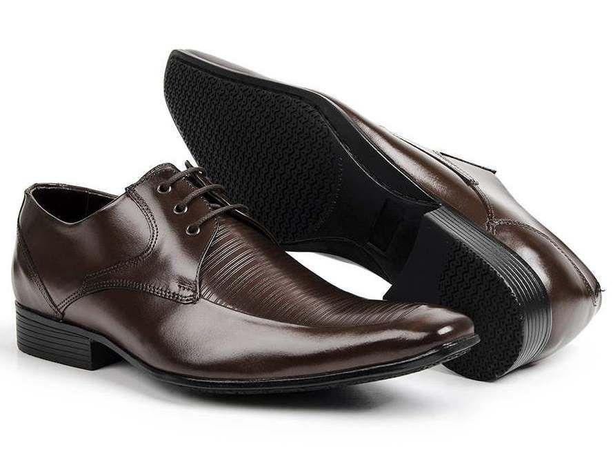 Sapato Social Masculino Couro Legítimo Marrom com Cadarço