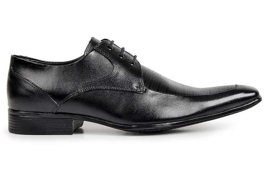 Sapato Social Masculino Couro Legítimo Preto com Cadarço