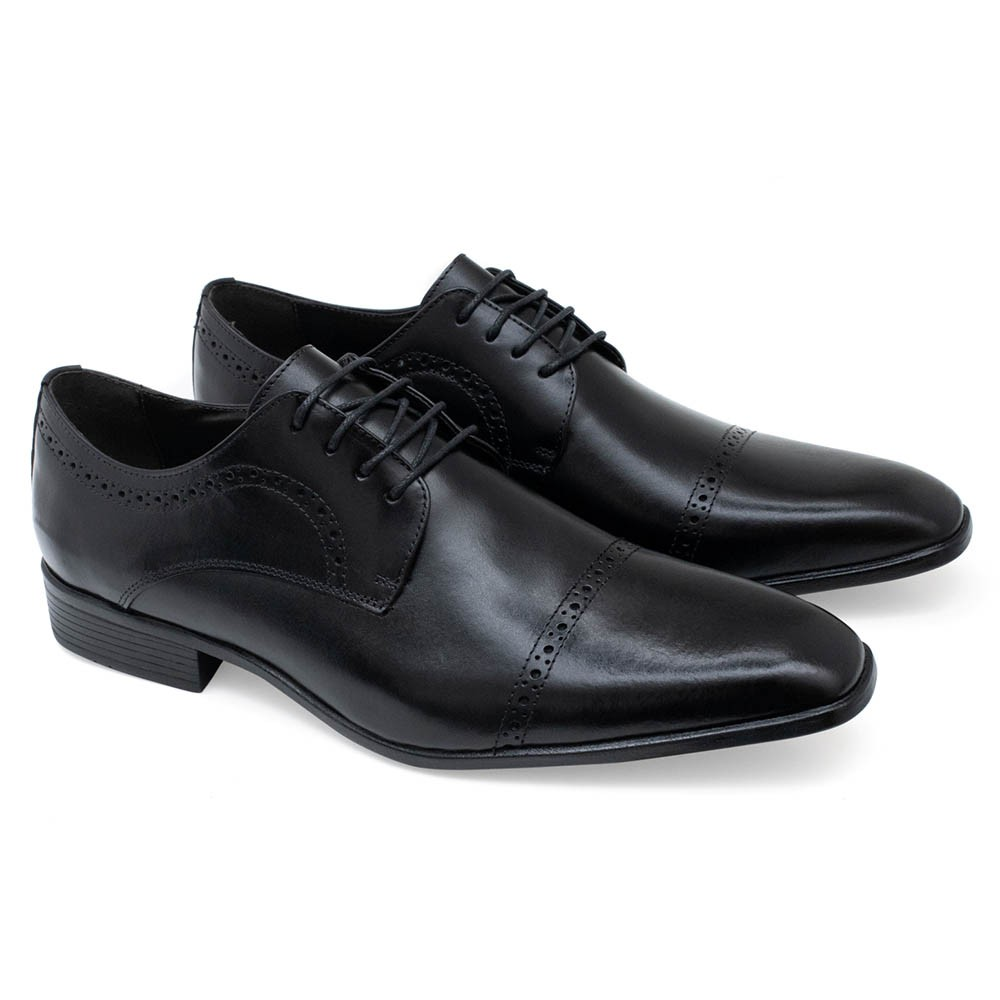 Sapato Social Masculino Couro Preto Sândalo